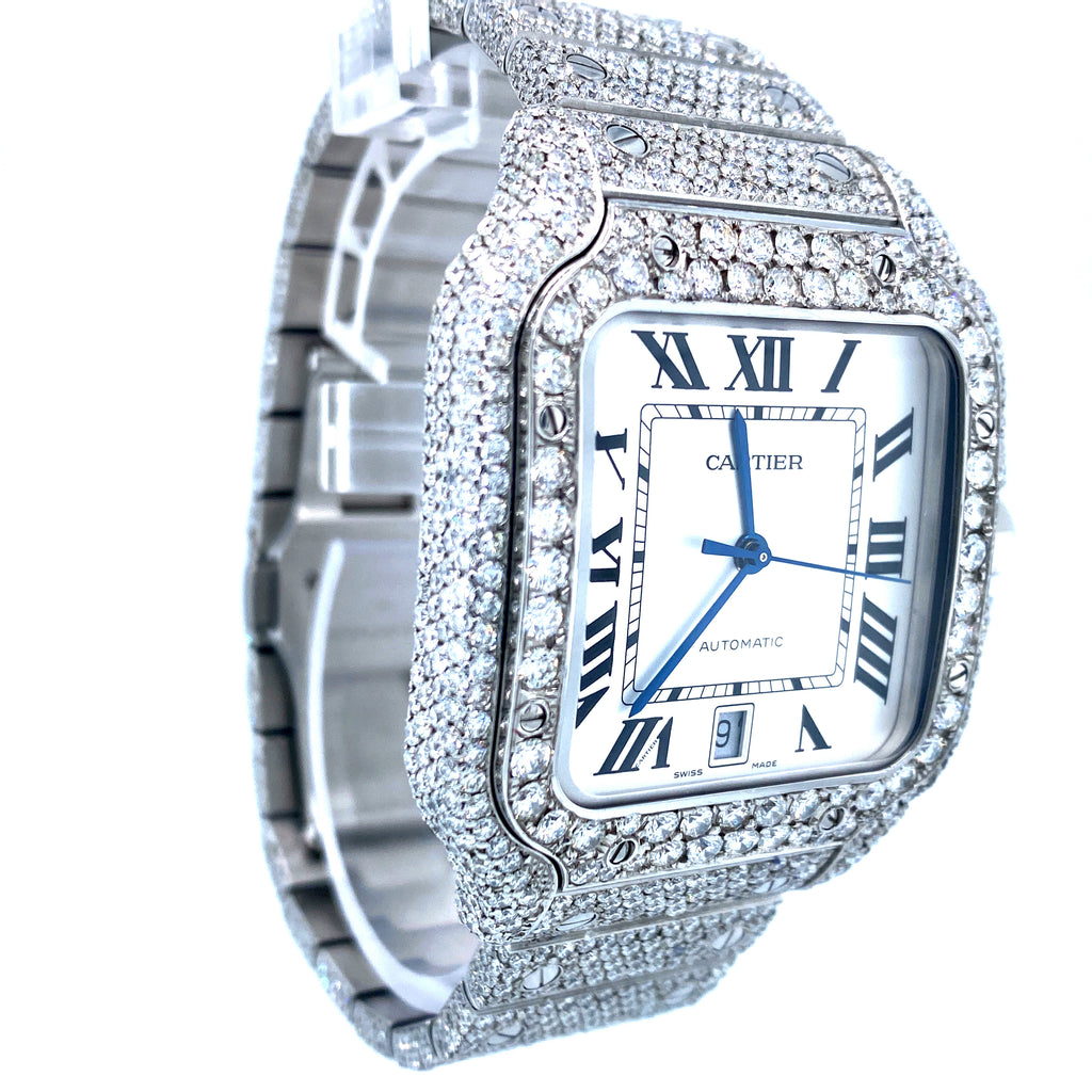 Cartier Santos de Cartier Large White Dial Full VVS Diamond Watch