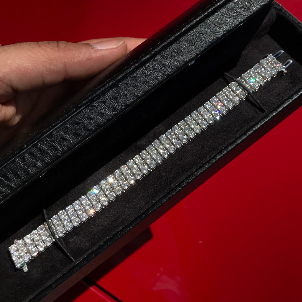 25ctw 3 Row Diamond Tennis Bracelet 14kt