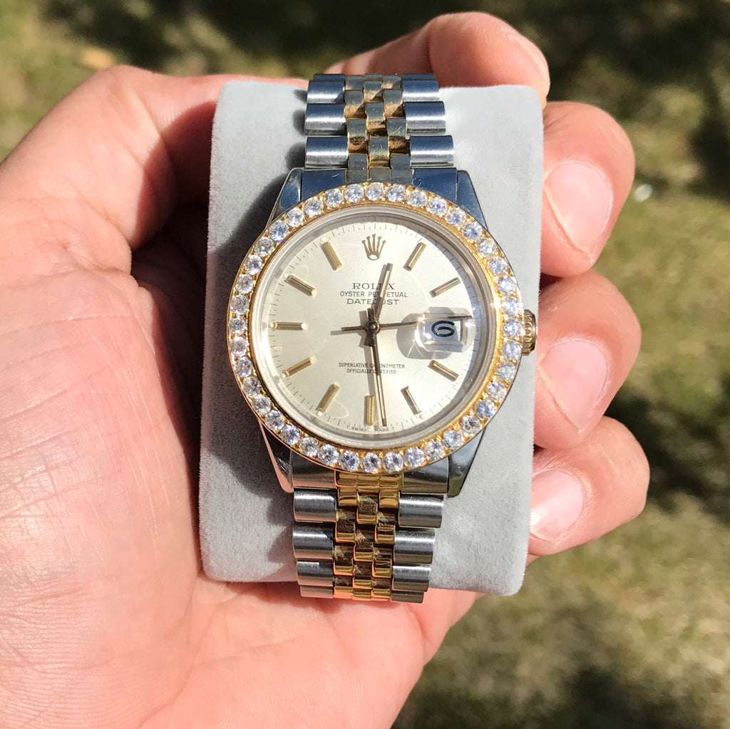 Rolex DateJust 36mm Two Tone 18k/SS 16013 2.75ctw Dia Bezel