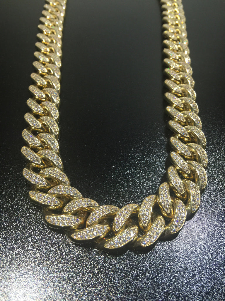 "14k 18mm Miami Cuban Link Chain 24"" w/ 23ct Diamonds"