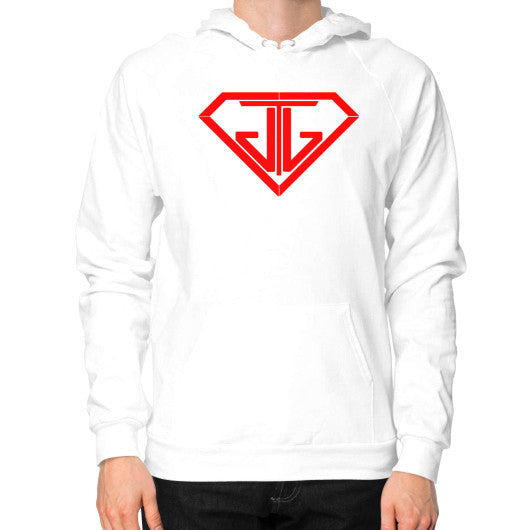 JTJ Blood Red Logo Men's Hoodie White - Jain The Jeweler