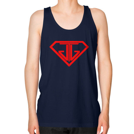 JTJ Blood Red Logo Men's Tank Top Navy - Jain The Jeweler