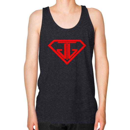 JTJ Blood Red Logo Men's Tank Top Tri-Blend Black - Jain The Jeweler
