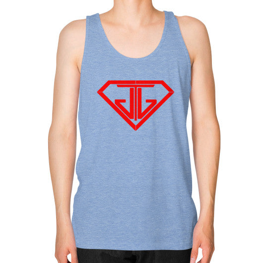 JTJ Blood Red Logo Men's Tank Top Tri-Blend Blue - Jain The Jeweler