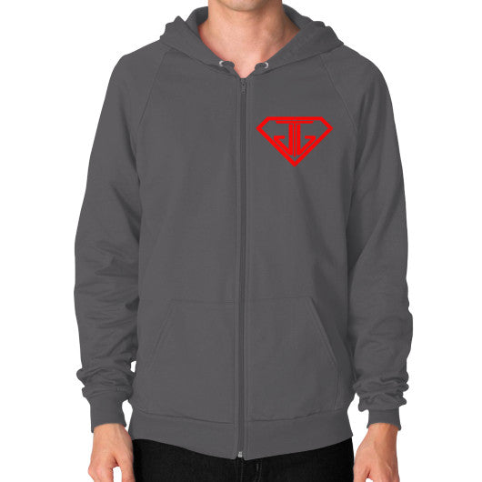 JTJ Blood Red Logo Men's Zip Hoodie Asphalt - Jain The Jeweler