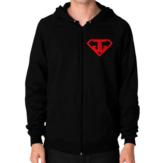 JTJ Blood Red Logo Men's Zip Hoodie Black - Jain The Jeweler