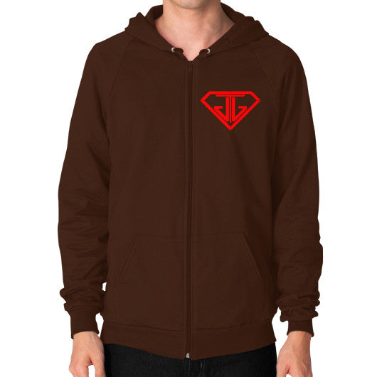JTJ Blood Red Logo Men's Zip Hoodie Brown - Jain The Jeweler