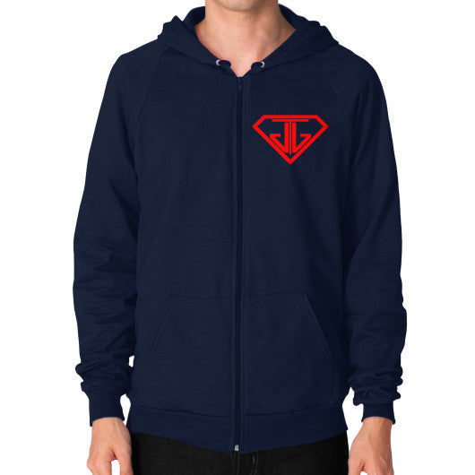 JTJ Blood Red Logo Men's Zip Hoodie Navy - Jain The Jeweler