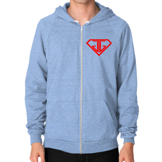 JTJ Blood Red Logo Men's Zip Hoodie Tri-Blend Blue - Jain The Jeweler