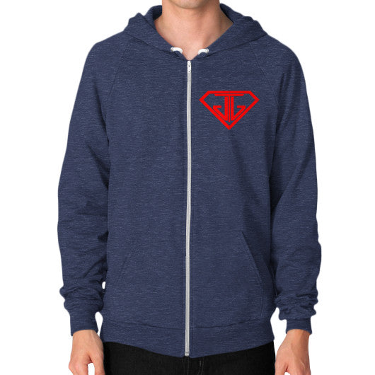 JTJ Blood Red Logo Men's Zip Hoodie Tri-Blend Navy - Jain The Jeweler