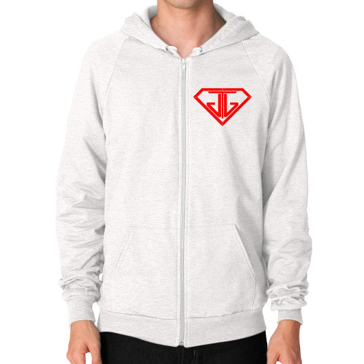 JTJ Blood Red Logo Men's Zip Hoodie Tri-Blend Oatmeal - Jain The Jeweler