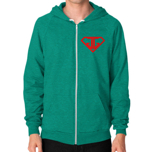 JTJ Blood Red Logo Men's Zip Hoodie Tri-Blend Vintage Green - Jain The Jeweler