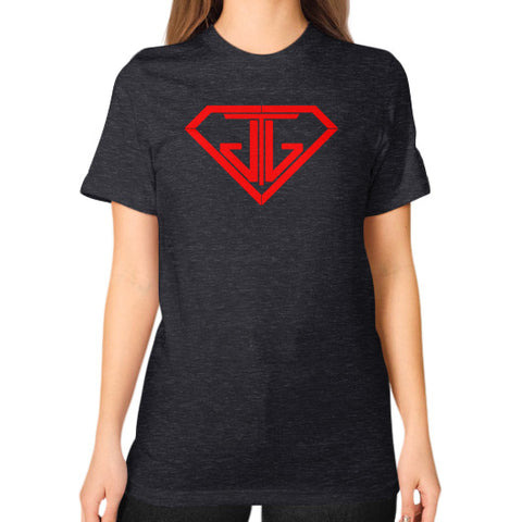 JTJ Blood Red Logo Women's Boyfriend T-Shirt Tri-Blend Black - Jain The Jeweler