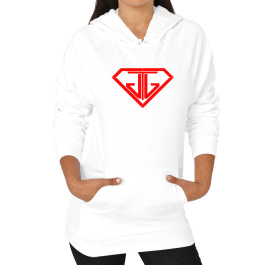 JTJ Blood Red Logo Women's Hoodie White - Jain The Jeweler