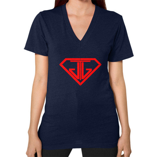 V-Neck (on woman) Navy - Jain The Jeweler
