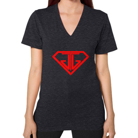 V-Neck (on woman) Tri-Blend Black - Jain The Jeweler