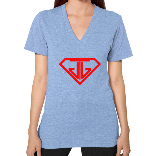 V-Neck (on woman) Tri-Blend Blue - Jain The Jeweler