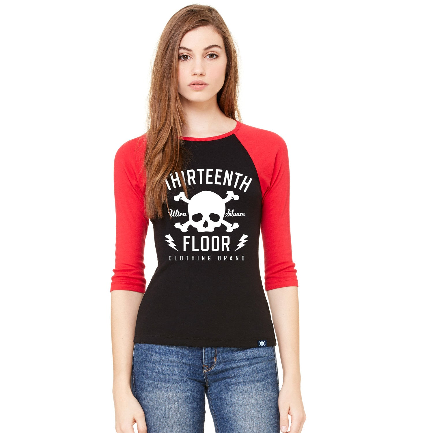 Skull & Bones Raglan - Black/Red - Thirteenth Floor