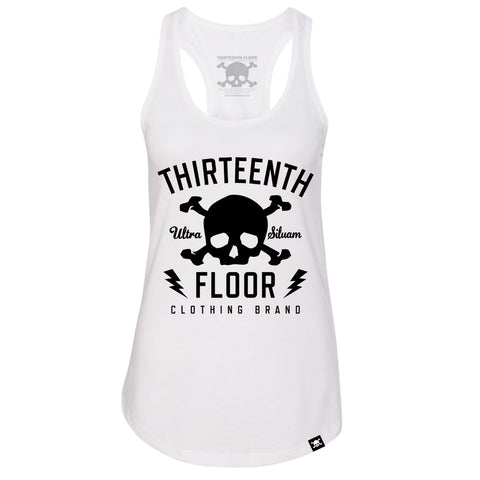 Skull & Bones Racerback Tank Top - White - Thirteenth Floor