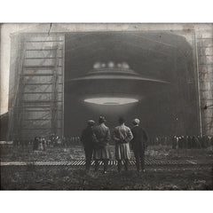 """The Unveil"" art print by Billy Ludwig shows 4 men looking into a hangar with a hovering UFO"