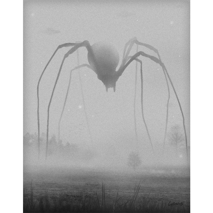 The Great Terror art print by Billy Ludwig shows a giant spider walking through an open field.