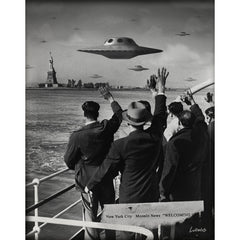 """Welcoming Committee"" by Billy Ludwig shows people waving at UFOs hovering close to Ellis Island."
