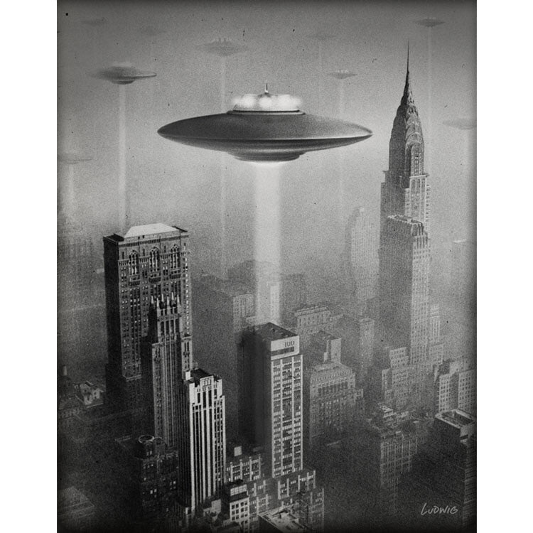 NYC '53 Invasion art print by Billy Ludwig shows UFOs hovering over New York City