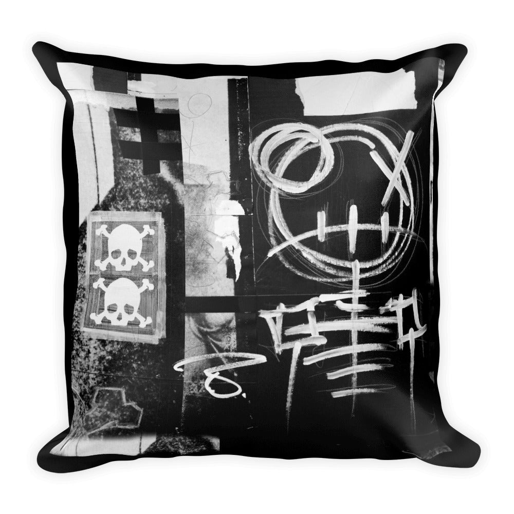 Skeleton Mixed Media Throw Pillow