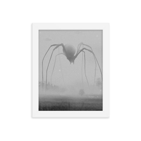 The Great Terror by Billy Ludwig - giant spider walking through foggy open field.