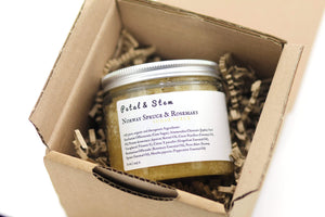 Body Scrub: Norway Spruce & Rosemary | vegan | 100 % ORGANIC | cruelty free | zero toxins | 225g - 8oz - Petal and Stem