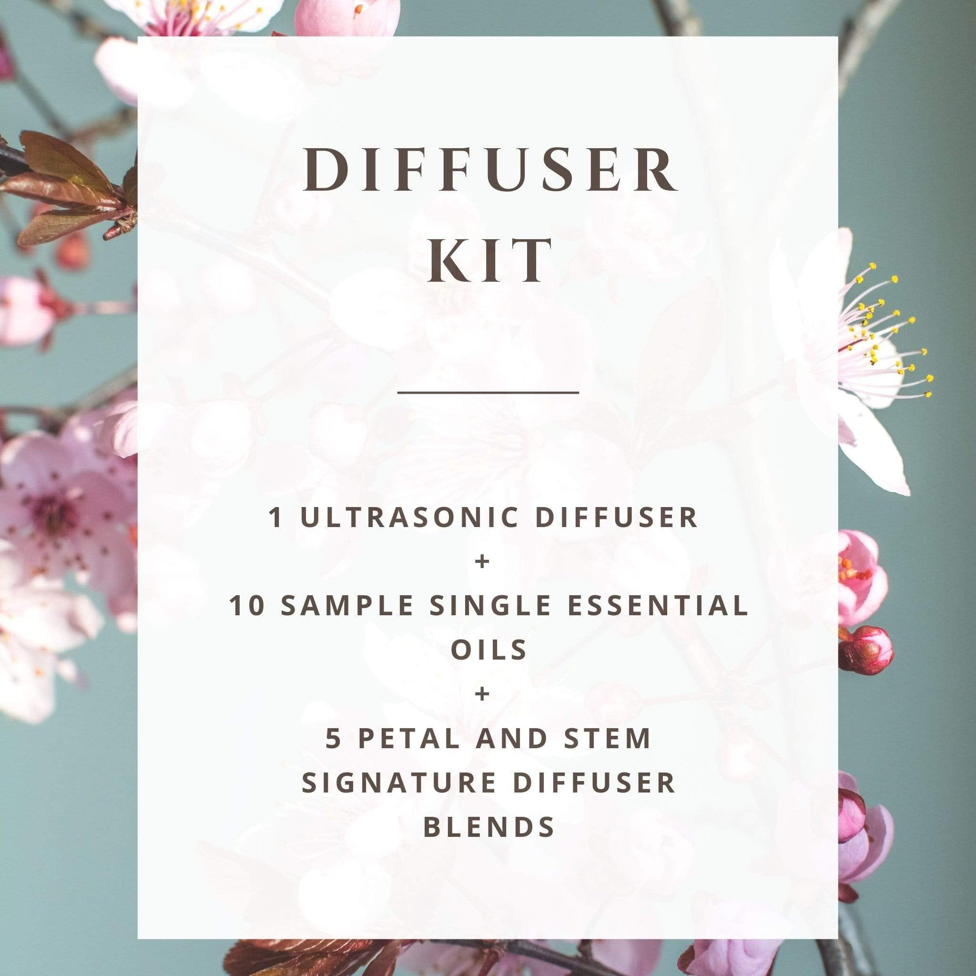 Diffuser Kit with Single Essential Oils and Diffuser Blends - Petal and Stem diffuser essential oil blends for anxiety