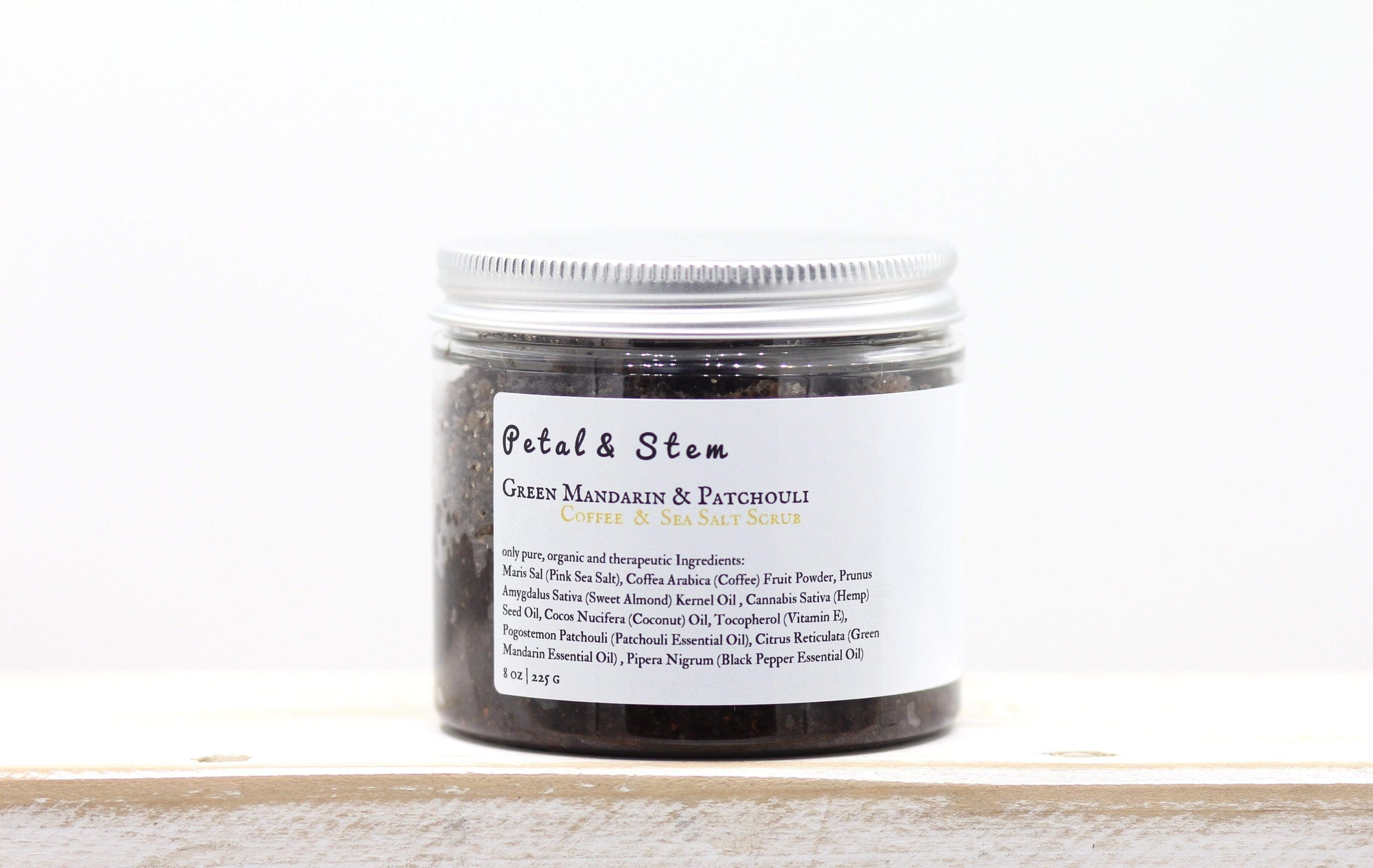 Detox Body Scrub: Green Mandarin & Patchouli | vegan | 100 % ORGANIC | cruelty free | zero toxins | 225g - 8oz - Petal and Stem