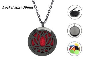 Black Lotus Aromatherapy Locket Jewelry + 1ml Free Essential oil sample - Petal and Stem