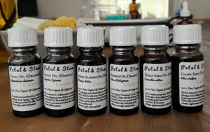Carrier Oil Set of 9 ~ 100% Pure Organic  ~ cold pressed & unrefined ~ most used Carrier Oils - Petal and Stem