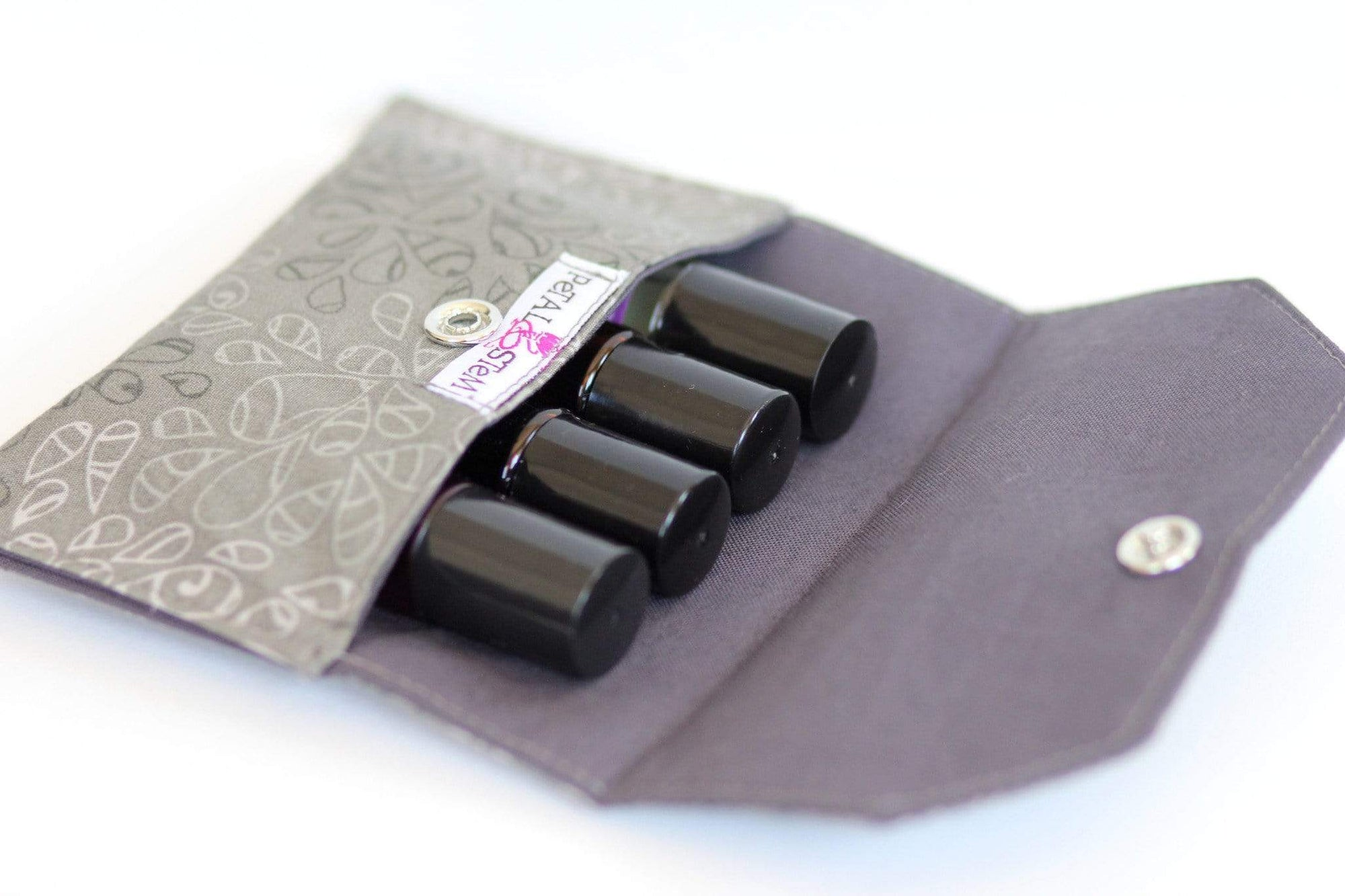 Essential Oil Bag (small) Natural Elements Grey Travel Pouch - Holds your most important oils - Petal and Stem