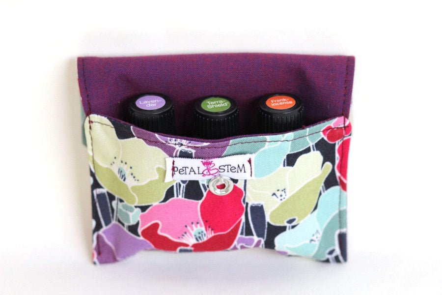 Essential Oil Bag (small) Poppy - Holds your most important oils - Petal and Stem