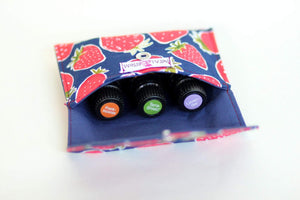 Essential Oil Bag (small) Strawberries - Holds your most important oils - Petal and Stem