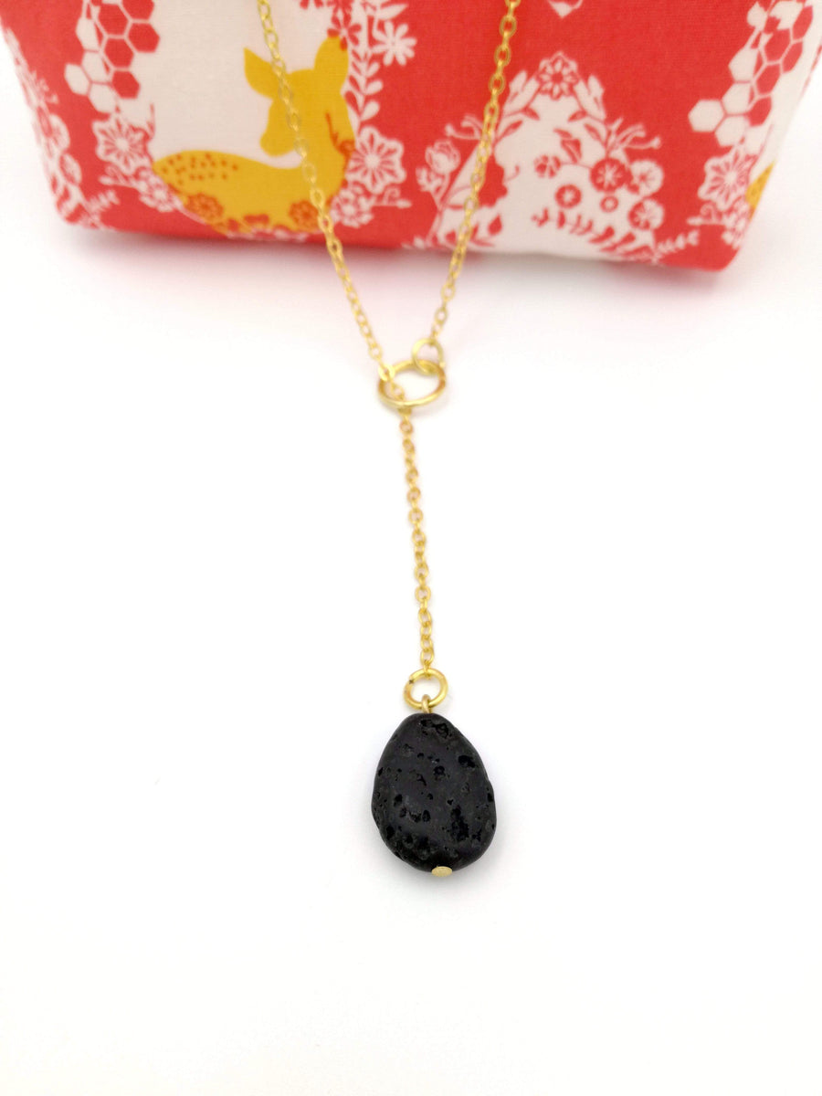 Aromatherapy Jewelry - Essential Oil Natural Lava Stone Necklace, Diffuser, Gold Pendant + FREE OIL SAMPLE - Petal and Stem