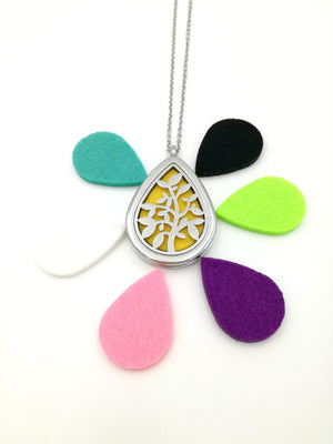 Water Droplet Diffuser Necklace, Essential Oil Necklace, Aromatherapy Locket + FREE OIL SAMPLE - Petal and Stem