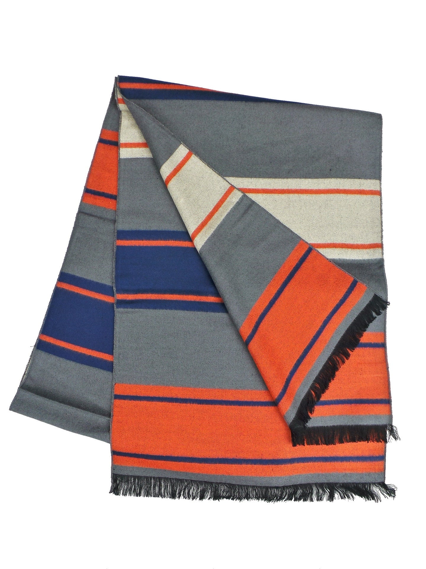 COOL Bamboo Rayon Blend Blue and Orange Striped Scarf