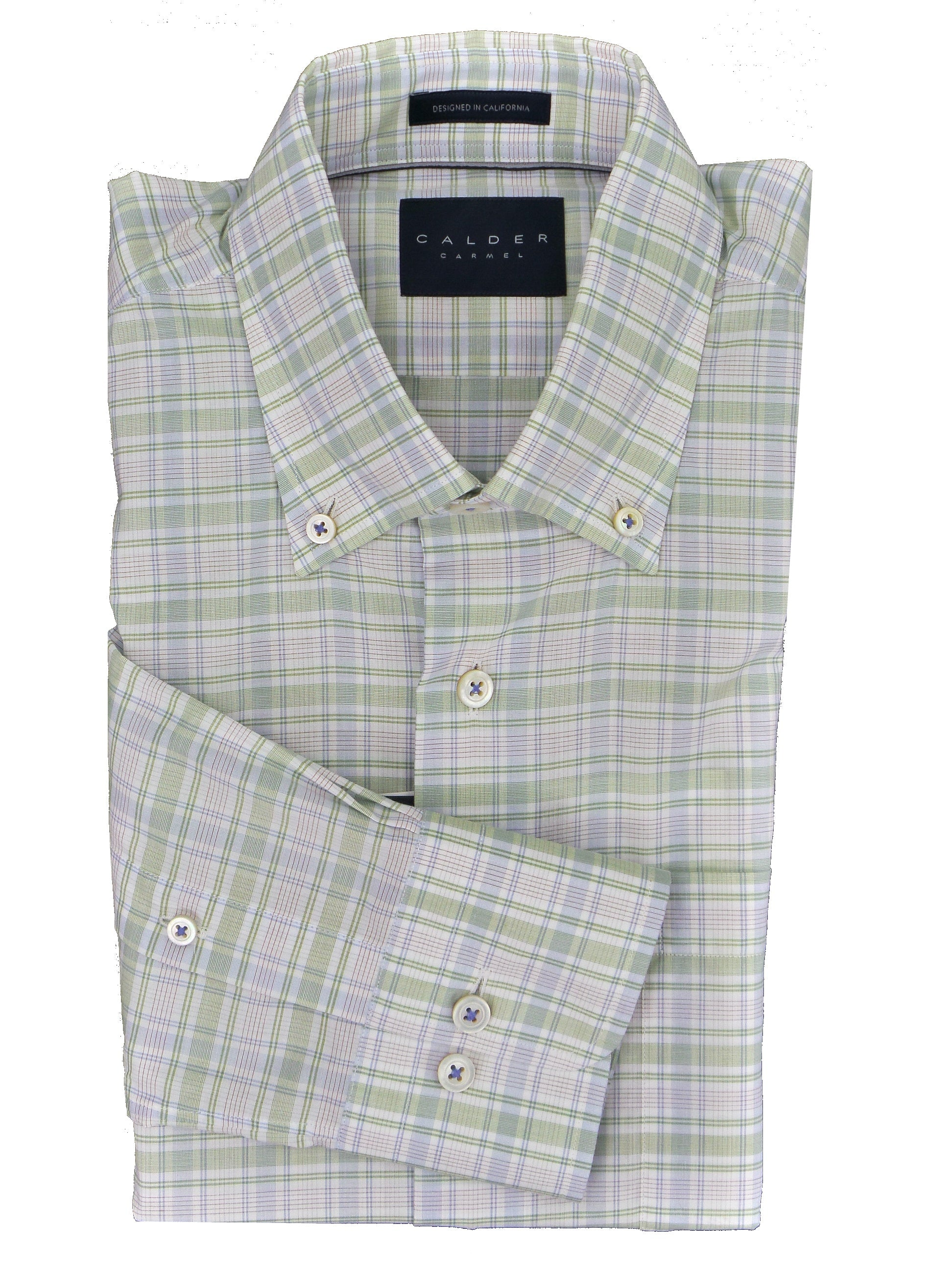 Calder Carmel Melange Poplin Check Soft Italian Milled Cotton Shirt