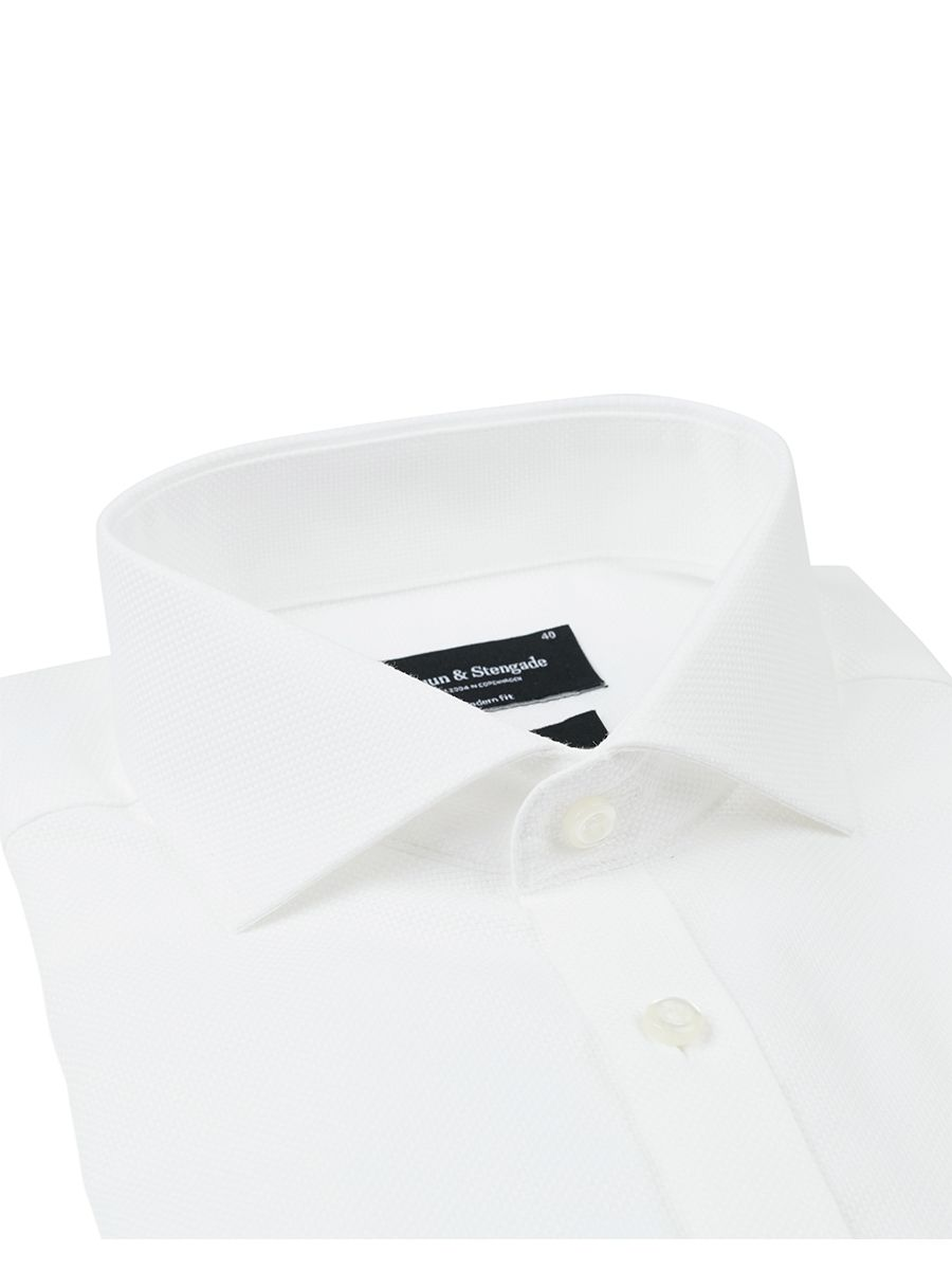 Bruun & Stengade Fabrio Solid White Texture Woven Dress Shirt