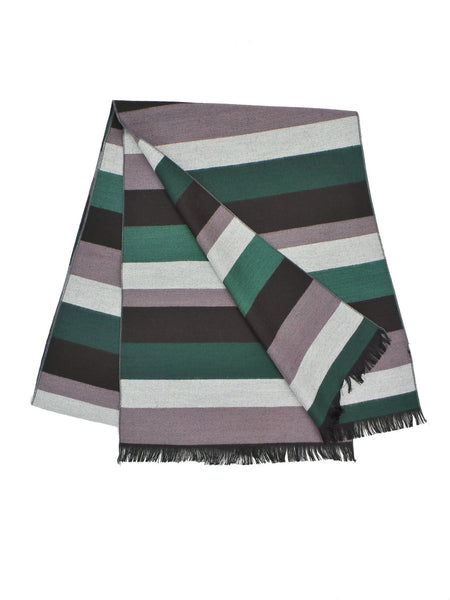 COOL Bamboo Rayon Blend Green and Grey Striped Scarf