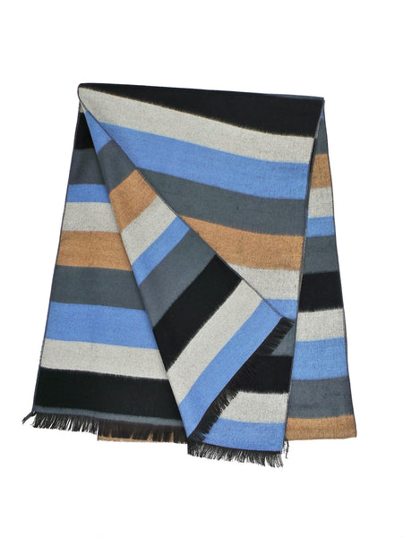 COOL Bamboo Rayon Blend Blue and Beige Striped Scarf