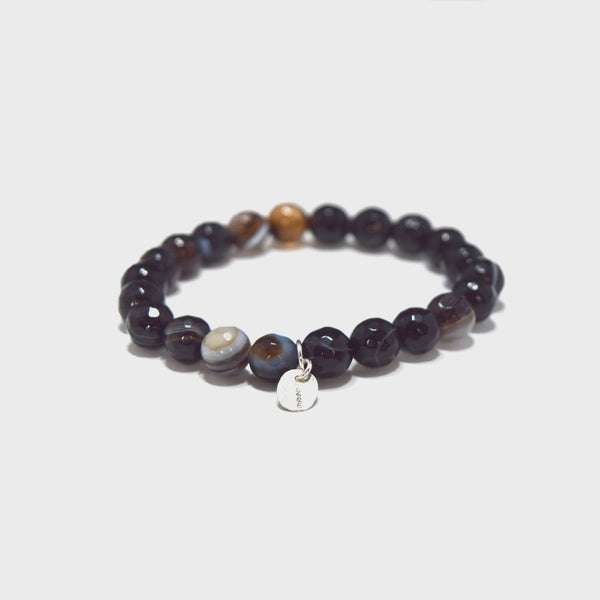 J. Andrew Monarch Faceted Black Agate Stretch Bracelet