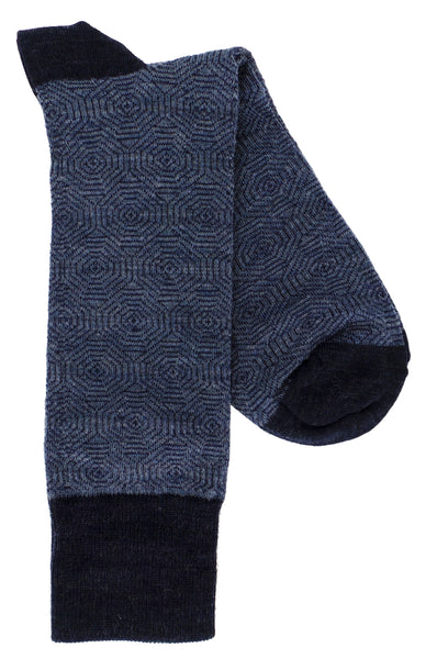 Lorenzo Uomo Geo Pattern Merino Wool Blend Dress Socks