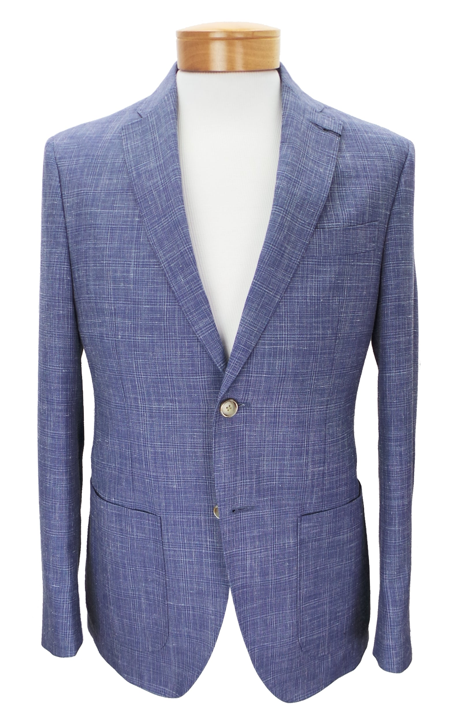 JKT New York Trent Subtle Plaid Wool Linen Blend Blazer