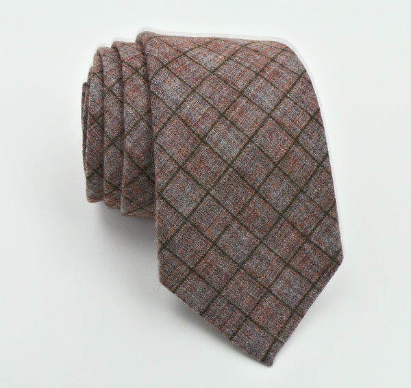 Ruth Graves Silk Wool Blend Windowpane Pattern Tie