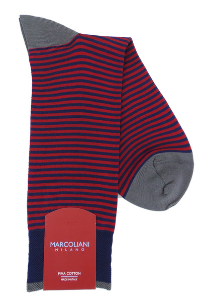 Marcoliani 3231 Pima Cotton Palio Stripe Dress Socks
