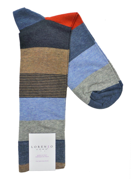 Lorenzo Uomo Jaspe Mille Cotton Italian Dress Socks